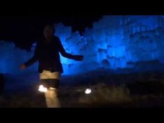 Fire and Ice... fire-hooping in front of a real ice castle <3