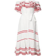 Lisa Marie Fernandez Ruffled Off-Shoulder Dress ($1,225) ❤ liked on Polyvore featuring dresses, white, flounce dress, off the shoulder dress, ruffled dresses, white linen dress and white ruffle dress
