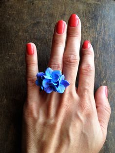 Hydrangea ring flower ring floral ring blue by FlowerTouch on Etsy