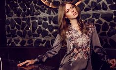 Exclusive Jena silk dress in Blaze Soft.