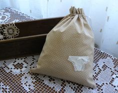 Bridal gift lingerie travel bag dots fabric with by annadw on Etsy, $17.00
