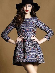 Multicolor Vintage Jacquard 3/4 Sleeve Skater Dress