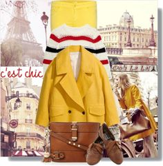 """""""Bright coat in Paris"""" by jasminerb on Polyvore"""