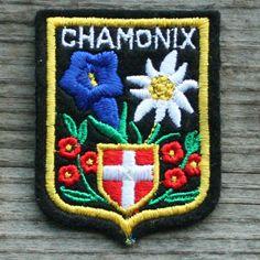 CHAMONIX MT BLANC Vintage Ski Patch FRANCE Travel Skiing Hiking Mountaineering