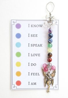 Chakra Fairy Suncatcher. The meaning of the word chakra is circle or vortex. It is believed that the chakras are vital points of energy throughout the body, this energy is part of our souls. The Te of Mala. chakra suncatcher, chakra healing, chakra balancing, chakra affirmations.