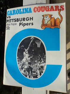 VINTAGE Carolina Cougars vs Pittsburgh Pipers ABA Basketball program 1970-71