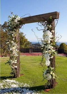 Outdoor Weddings If I ever have an outdoor wedding I would love this wooden wedding ceremony arch - A Los Angeles couple plan a spirited celebration for their closest friends and family. Woods Wedding Ceremony, Wood Wedding Arches, Wedding Arbors, Wedding Reception Backdrop, Wedding Arch Rustic, Wedding In The Woods, Garden Wedding, Wedding Backyard, Outdoor Ceremony