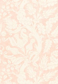 Villa de Medici is a linen damask with climbing branch and stylized flowers. Shown in Blush, schumacher