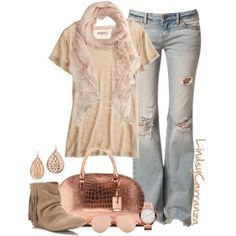 Rose Gold Accents by lindsycarranza on Polyvore Once again an outfit with those soft colors I love so much...