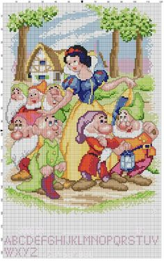 snow white and the seven dwarfs cross stich motif with pattern from picasaweb. Disney Cross Stitch Patterns, Cross Stitch For Kids, Cross Stitch Baby, Cross Stitch Charts, Cross Stitch Designs, Cross Stitching, Cross Stitch Embroidery, Embroidery Patterns, Disney Stich