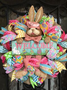 Sharyn Kaye's, Easter Bunny Wreath, Easter Wreath, Easter Decor, Spring Wreath, Mesh Wreath, Wreath for Front Door, Welcome Wreaths, Spring by SharynKayes on Etsy