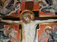 """""""JESUS CHRIST CRUCIFIXION"""" (detail), fresco painted by Ludovico Seitz during the period 1892 - 1902 and kept in the German Chapel (also called Choir Chapel) of the Sanctuary of Loreto ❤  """"CROCIFISSIONE"""" (particolare), affresco di #LudovicoSeitz eseguito nel periodo 1892-1902, cconservato nella Cappella Tedesca (o del Coro) del #SantuariodiLoreto. #JesusChrist #GoodFriday #Calvary #Cross #twoThieves #VirginMary #MaryMagdalene #Loreto #SanctuaryofLoreto #marchespiritualroute"""