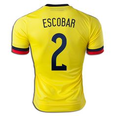 e68610b53 Andres Escobar 2 2015 Copa America Colombia Home Soccer Jersey Soccer Shirts