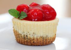 Cheesecake Cookie Cups --love the clustered cherries