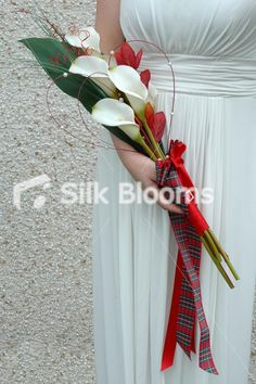 Long Modern Red Scottish Tartan Cala Lily Overarm Brides Bouquet - Totally worked. :)
