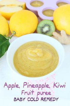 "NEW VIDEO! Baby Cold Remedy: apple, pineapple, kiwi fruit puree with lemon, ginger and apple cider vinegar. A delicate and natural remedy to help your little one beat the cold and alleviate the symptoms. And if you are fighting the cold too, try my ""magi Baby Puree Recipes, Pureed Food Recipes, Baby Food Recipes, Healthy Recipes, Cold And Cough Remedies, Natural Cold Remedies, Herbal Remedies, Sleep Remedies, Health Remedies"