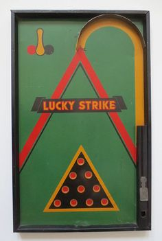 "Vintage ""Lucky Strike"" 1930's Bagatelle Game Likely Lindstrom 