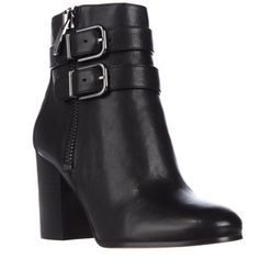 Via Spiga Briella Double Strap Buckle Ankle Boots - Black