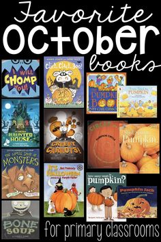 Our favorite October picture books for the primary classroom that are engaging, have good pictures and are well received by my students. These are our classroom favorites that I go back to each and every year during the fall season. #octoberpicturebooks #octoberbooks #halloweenbooks #fallbooks #booksaboutpumpkins