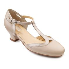 1930s style t strap shoes. Rumba Shoes  - Cushioned ladies party heels - Beige size 11 $79.00 AT vintagedancer.com
