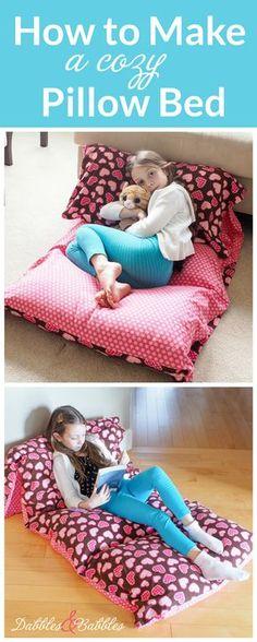 Aprenda a fazer uma cama travesseiro confortável com este tutorial foto rápida e fácil - um grande projeto iniciante costura. Perfeito para leitura, descanso, noite de cinema, sleepovers e camping!