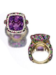 Best of Birthstones: Arresting Amethyst | Sotheby's-Gold, amethyst, diamond and colored stone ring, Michele della Valle. Estimate: $6,000–8,000. To be offered in Sotheby's New York Magnificent Jewels sale on 19 April.-