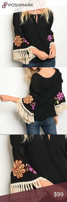 VAVA BY JOY HAN EMBROIDER TOP Brand new with tags Boutique item  The Vava by Joy Han Meadow top is hippie chic with fringe around sleeve ends, embroidered decoration on the sleeves, a keyhole cut out in the front and tie closure at the neckline, off the shoulder neck, elasticized sleeves, and a loose silhouette. Pair with a pair of tall boots, rings, necklace, and hat and be ready for anything! 100% Cotton Modeled in a size xs Vava by Joy Han Tops