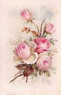 Paper Napkins for Decoupage Craft - Vintage Sagen Amore Roses Vintage Cards, Vintage Paper, Vintage Postcards, Vintage Images, Decoupage Vintage, Decoupage Art, Flower Images, Flower Art, Deco Floral
