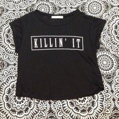 Killin it crop top! Super cute! Never been worn! Bought from marshalls Tops Crop Tops