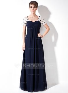 Empire Sweetheart Floor-Length Chiffon Charmeuse Mother of the Bride Dress With Ruffle Beading Sequins (008005931)