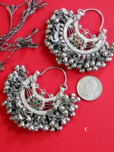 Kuchi Crescent Moon Earrings - Vintage Tribal Jewellery