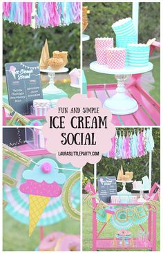 Simple Ice Cream Social ideas they'll scream for! - Lizzy Zayas - Simple Ice Cream Social ideas they'll scream for! 3rd Birthday Party For Girls, Summer Birthday, Birthday Party Themes, 5th Birthday, Birthday Ideas, Sundae Party, Ice Cream Social, Ice Cream Party, Candy Party