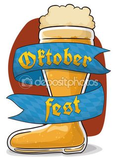 Frothy Beer Boot for Oktoberfest with Greeting Ribbon, Vector Illustration — Stock Illustration Beer Boot, Flag Design, Bavaria, Vector Free, Ribbon, Disney Characters, Boots, Illustration, Holiday