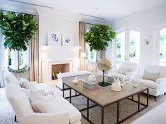 Love the pop of green in this neutral coastal inspired living space