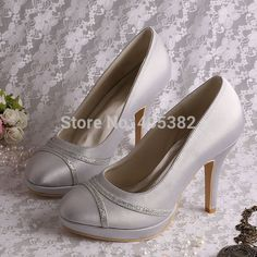 39.95$  Know more  - Wedopus Top Quality New Arrive Ladies Party Shoes Grey Satin High Heeled Size 34-42