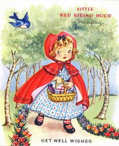 All information about Little Red Riding Hood Illustration Vintage. Pictures of Little Red Riding Hood Illustration Vintage and many more. Vintage Greeting Cards, Vintage Postcards, Clipart Vintage, Vintage Pictures, Vintage Images, Vintage Children's Books, Vintage Paper, Get Well Cards, Red Riding Hood