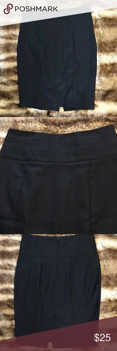 """ZARA Black Pencil Skirt with Back Slit Zara solid black pencil skirt. Perfect for the office or happy hour.   Measurements are approximate:  Laying flat:  Waist - 15""""  Hips - 17""""  Length - 21.5"""" Zara Skirts Pencil"""