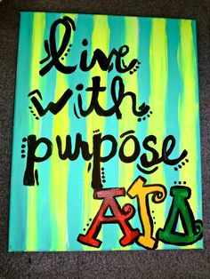 Put purpose on back. Canvas? Crest behind! Live with purpose on life tips list :). Obvs change to DG