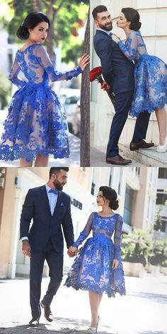 Ball Gown Scoop Knee-Length Zipper-Up Lace Prom Homecoming Dress Prom Dresses 2016, Prom Dresses Long With Sleeves, Prom Dresses Blue, Pretty Dresses, Beautiful Dresses, Evening Dresses, Formal Dresses, Dress Long, Blue Dress Outfits
