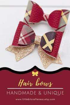 Hair bow clips Faux leather bows on a hair clip. Handmade Shop, Handmade Items, Handmade Gifts, Bow Hair Clips, Hair Bows, Thing 1, Handmade Hair Accessories, Creative Gifts, Baby Headbands