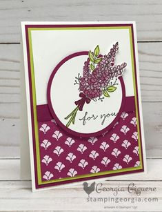 Lots of Lavender . Another Pretty Card! - Stampin' With Georgia Lavender Stamp, Lavender Flowers, Stamping Up, Rubber Stamping, Love Is Free, Pretty Cards, Flower Cards, Stampin Up Cards, Your Cards