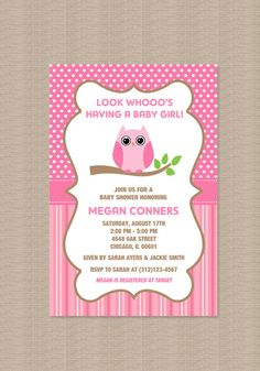 Owl Baby Shower Invitations DIY Printable Baby Girl Shower