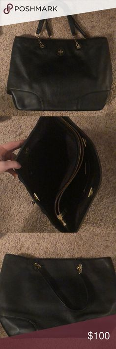Tory Burch tote Spacious black Tory Burch tote with chain top handle! Bag has inner zip compartment separating the two sides. One side has a smaller enclosed compartment as well. Bag has been used a decent amount but is in great condition and only shows minimal signs of wear Tory Burch Bags Totes