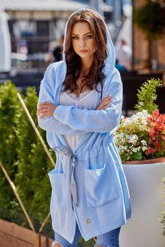 327607775518 Ζακέτα πλεκτή μακριά με κουκούλα ζώνη και τσέπες - Γαλάζιο. Dress. Fashion e -Shop