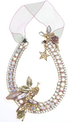 KIRKS FOLLY FIONA FAIRY CRYSTAL HORSESHOE ORNAMENT goldtone