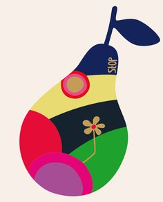 by Kari Modén Arte Pop, Love Illustration, Graphic Design Illustration, Pear Drawing, Fruit Art, Arte Floral, Food Illustrations, Collage Art, Collages