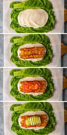 Use this No Bread Turkey Club method to make your favorite sandwich into a low carb sandwich. Make a no bread sandwich by rolling all of your favorite fillings into a romaine lettuce wrap. Easy Keto Meal Plan, Healthy Meal Prep, Healthy Snacks, Healthy Eating, Low Carb Sandwiches, Turkey Sandwiches, Wrap Sandwiches, Whole 30 Recipes, Great Recipes