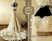 Fascinating Vintage Style Wedding Dress with Beaded Lace Top Featuring Long Satin Sash and Folded Rustling Taffeta Skirt with Chapel Train