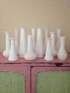 Vintage white Milk glass vases