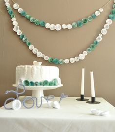This listing is for a set of two teal and white paper flower garlands. These beautiful garlands are made from handmade flowers that are then attached